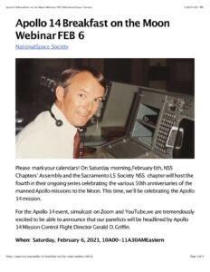 Apollo 14 Breakfast on the Moon Webinar FEB 6|National Space Soc